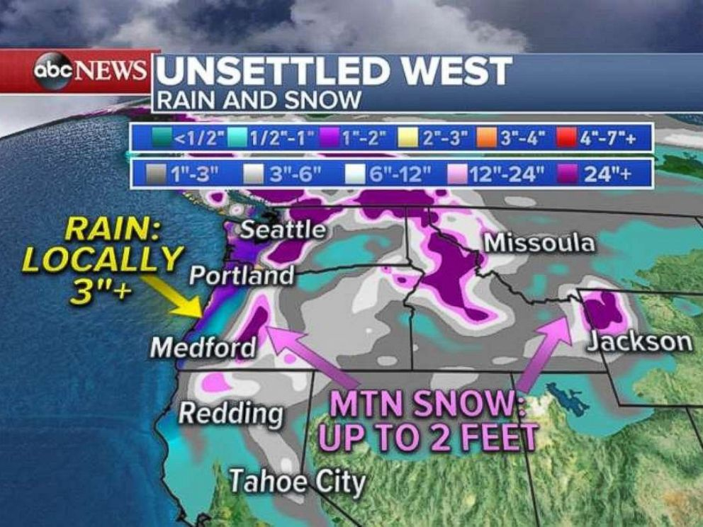 Snow and rain totals through the weekend for the Northwest region.
