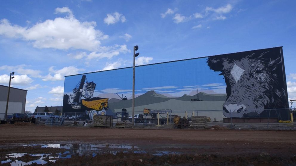 Coal mining is a major part of life in Gillette, Wyo. A local mural shows a haul truck full of coal.