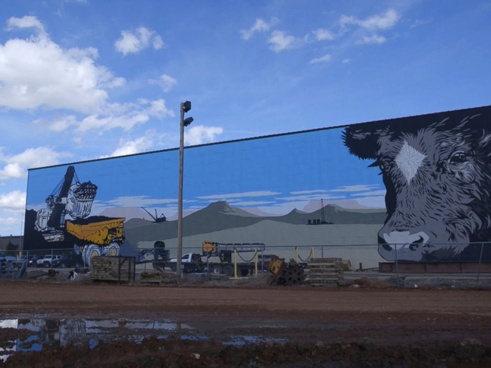 PHOTO: Coal mining is a major part of life in Gillette, Wyo. A local mural shows a haul truck full of coal.