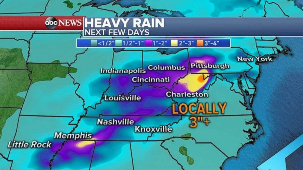 Ground in West Virginia and Kentucky will be heavily saturated with rain through Friday.