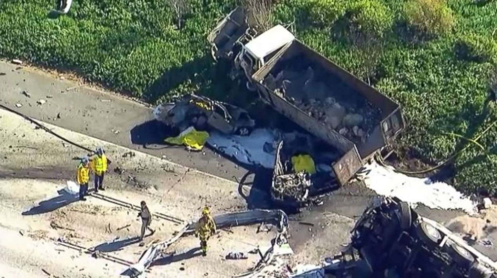5 killed as semitrailer plows into cars in fiery crash on California