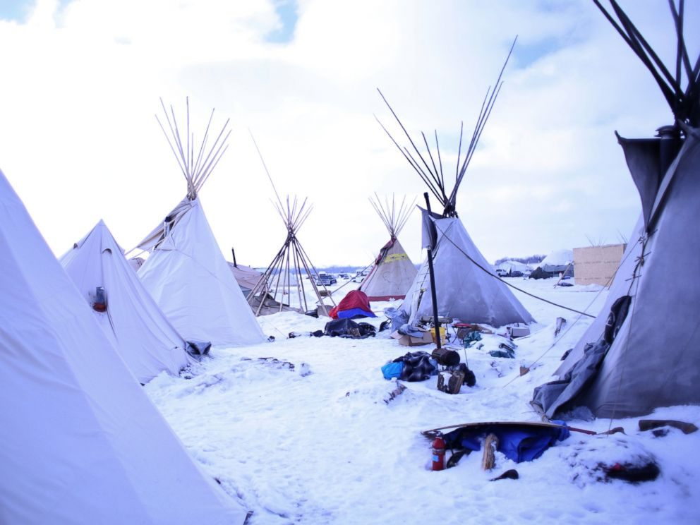 PHOTO: The Oceti Sakowin Camp on the Standing Rock Reservation in Cannon Ball, North Dakota, Dec. 21, 2016.
