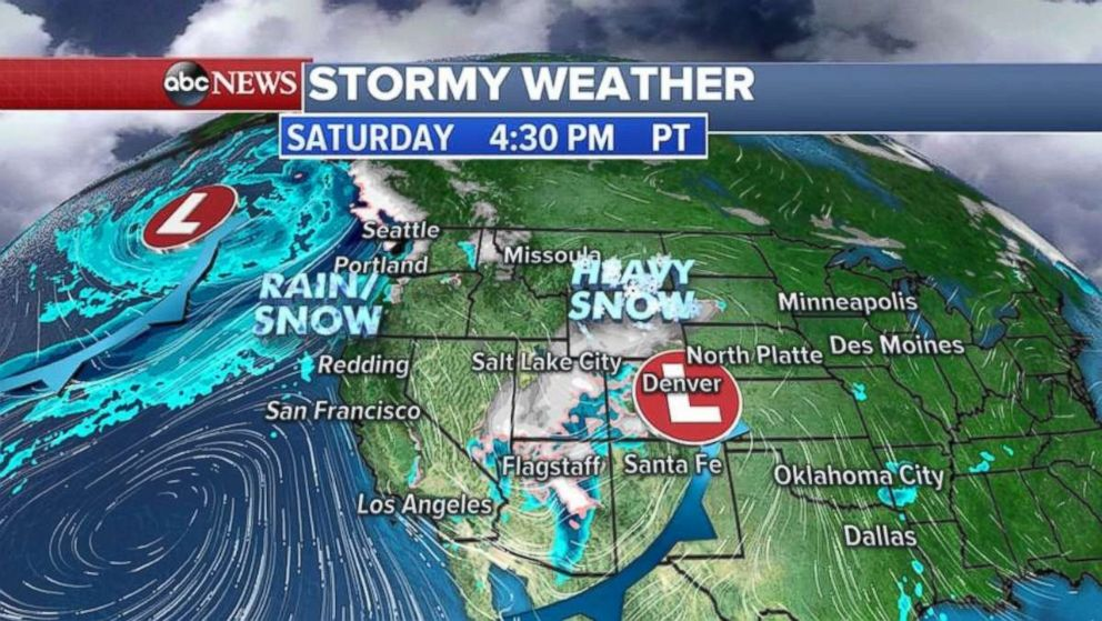 Heavy snow will hit the Rockies on Saturday, as another storm approaches the Pacific Northwest.