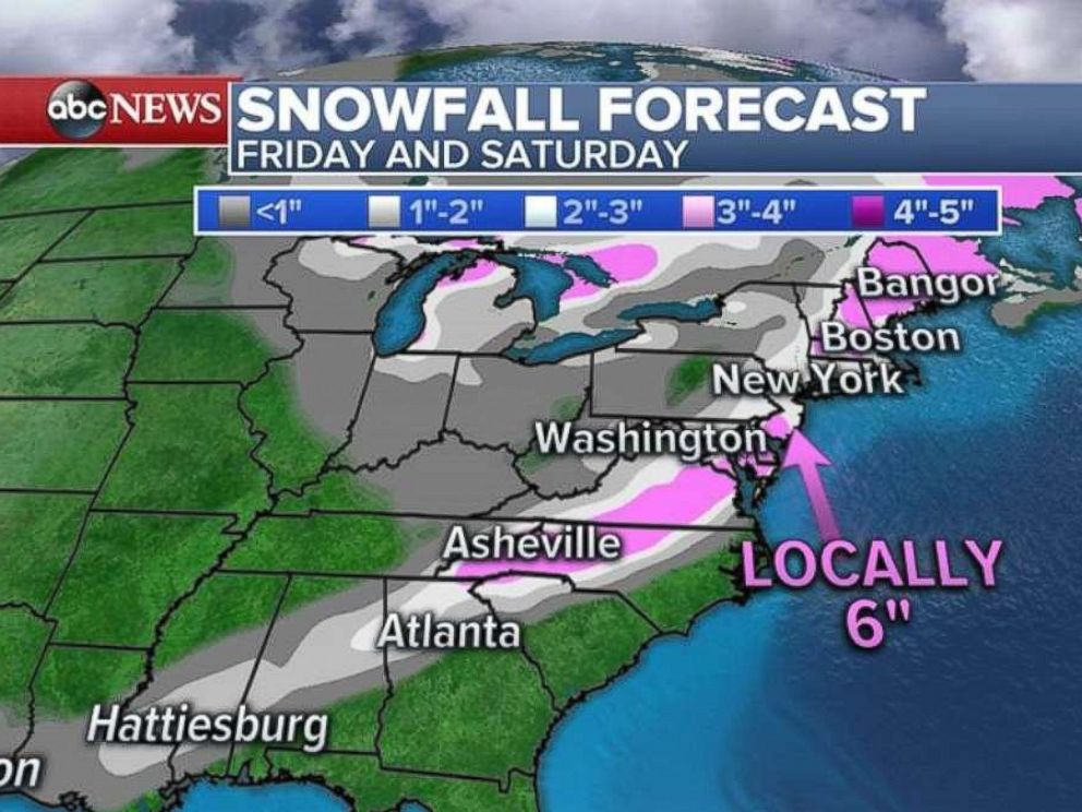 The heaviest snow totals will come in the southern New Jersey and Delaware area.