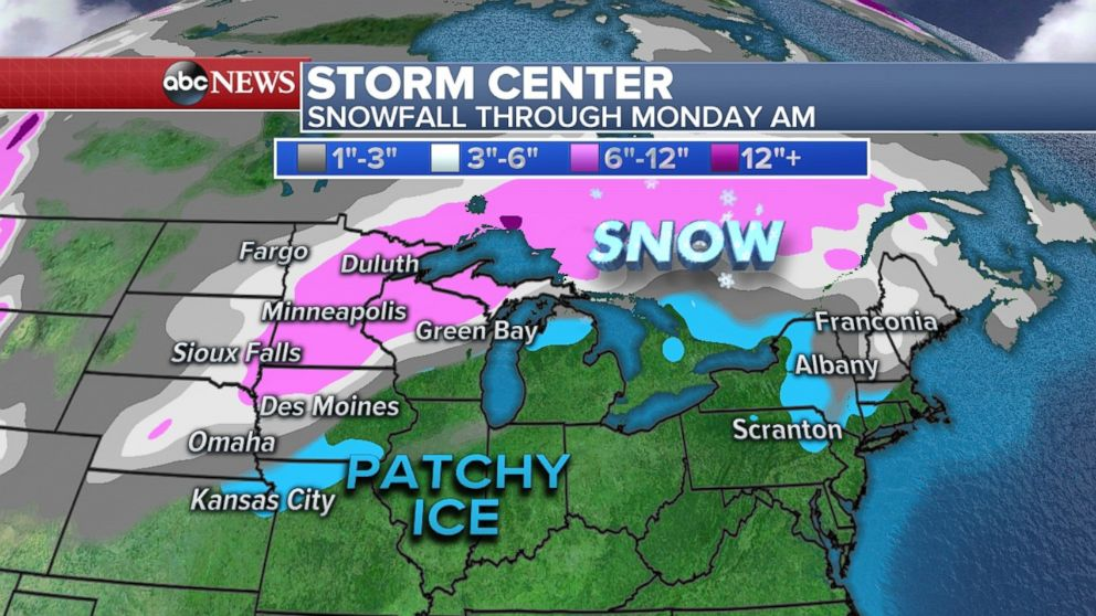 Heavy snow will fall in Minnesota and northern Wisconsin through Monday morning.