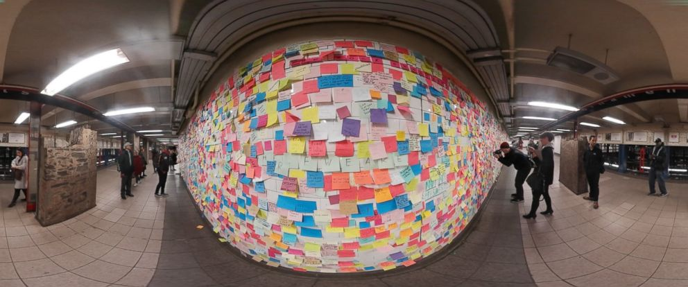 PHOTO: Sticky notes cover New Yorks Union Square subway station in act of protest, Nov. 14, 2016.