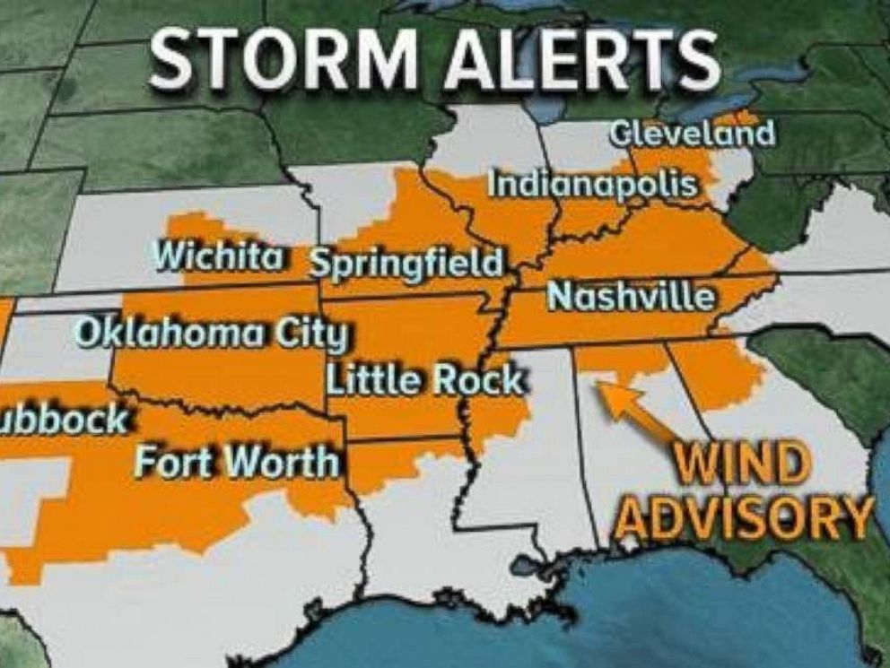 Storm alerts are in place for much of the eastern half of the U.S. on Saturday, Nov. 18, 2017.