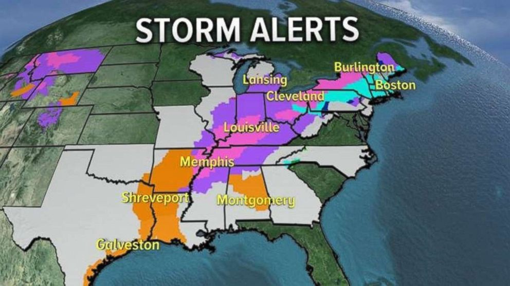 Alerts are in place for much of the eastern U.S. on Friday with storms moving east.