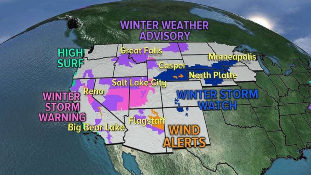 There are 17 states under alerts due to the storms hitting the West on Friday.