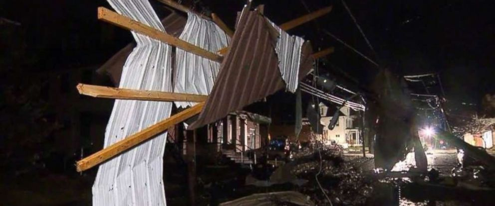 The storm moving through western Pennsylvania overnight Friday damaged homes in Uniontown.