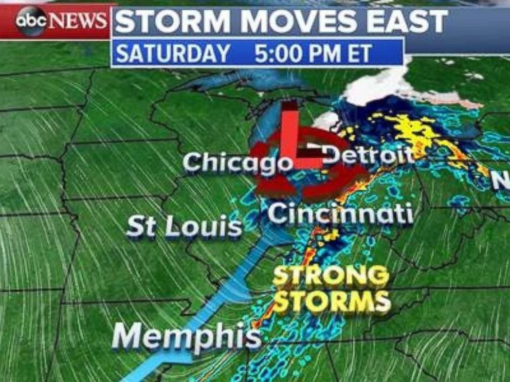 The storm system will move into the Midwest on Saturday afternoon and evening.
