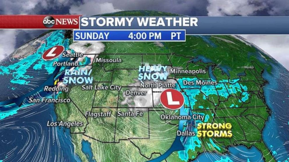 Rain and wind will impact the Pacific Northwest on Sunday.