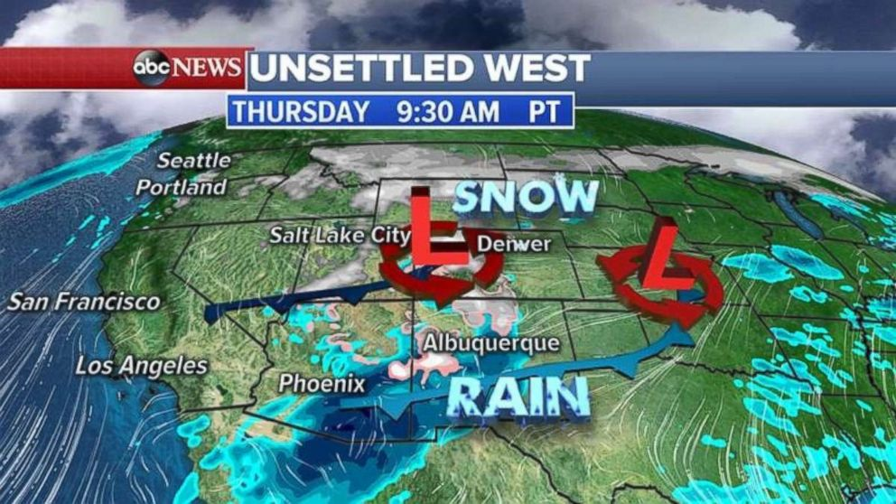 The Rockies will get heavy snow on Thursday morning.