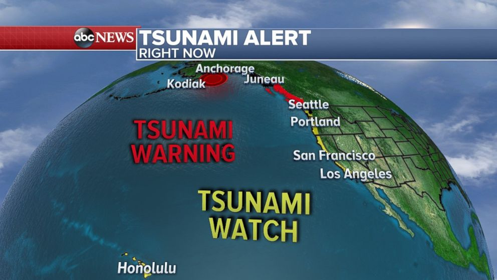 Tsunami warnings were issued for Alaska and British Columbia, with watches as far south as California, on Jan. 23, 2018.