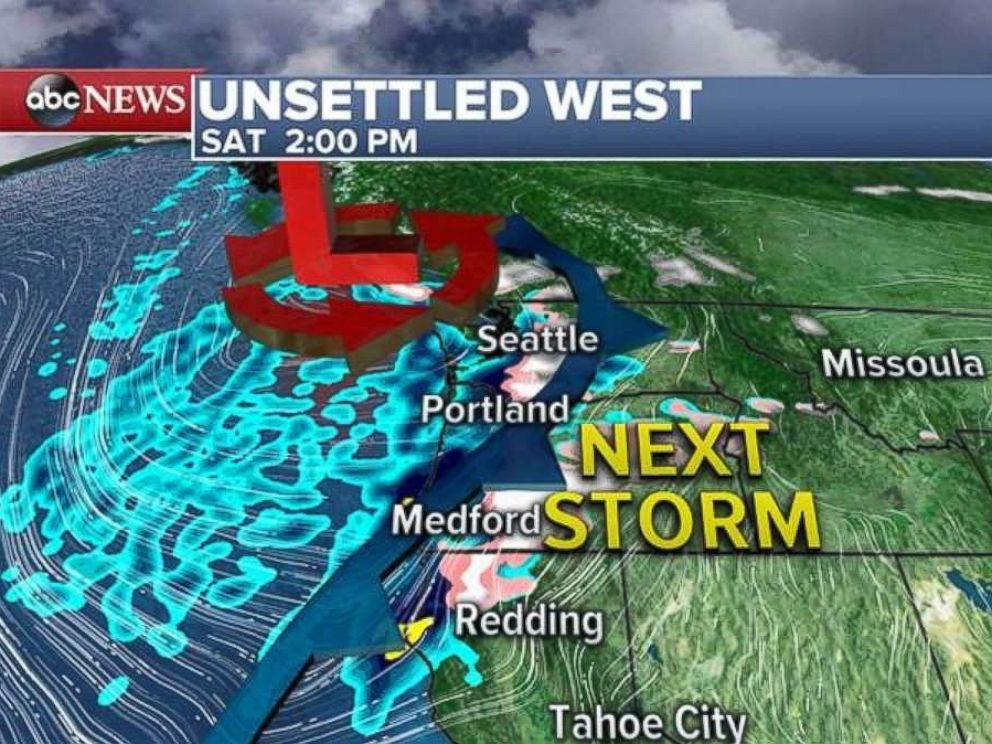 The storm will move into the area on Saturday afternoon.