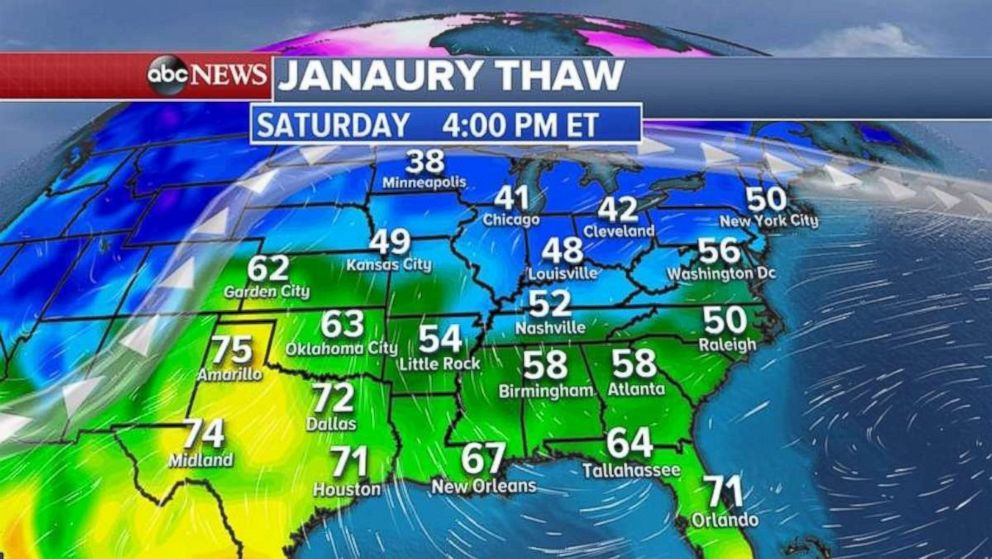 A January thaw will bring temperatures in the 60s and 70s to the South and 40s and 50s for the Midwest and Northeast.