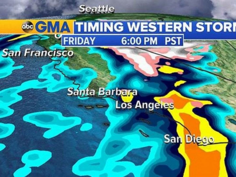 PHOTO: Heavy rain will move into San Diego by 6 p.m. PT Friday.
