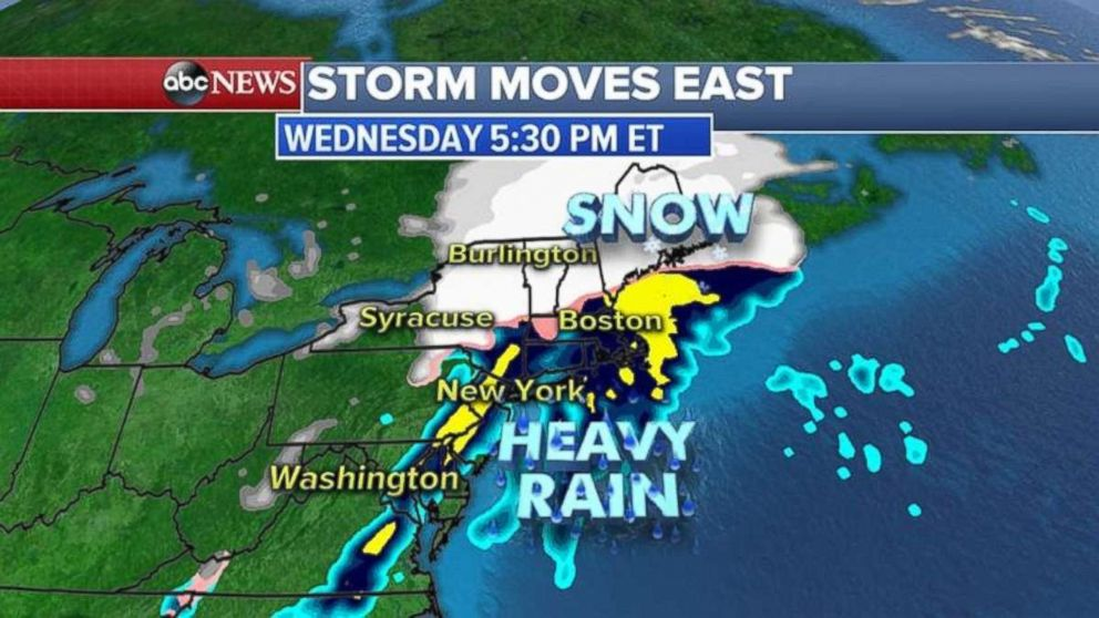 Rain will fall along the coast in the Northeast but inland areas will receive heavy snow