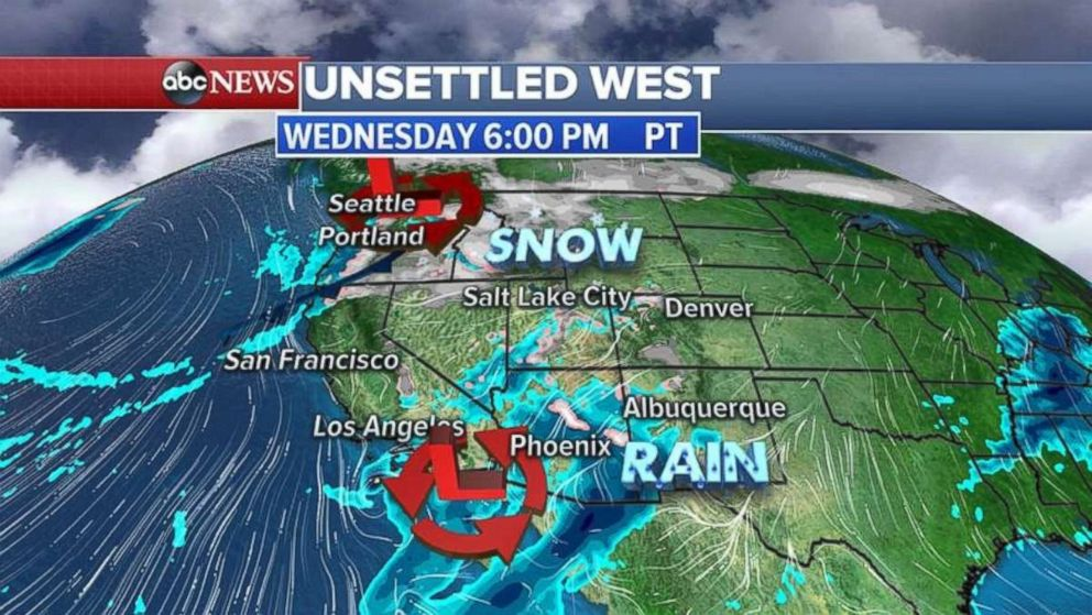 Two storm systems are moving through the Southwest and Northwest on Wednesday.