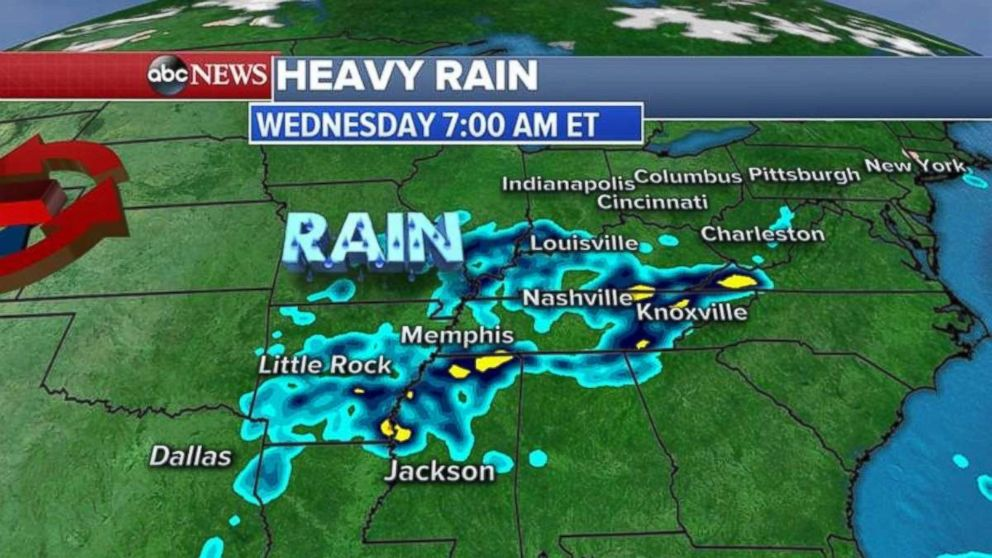 Heavy rain will bring flooding concerns in the Mid-South on Wednesday.