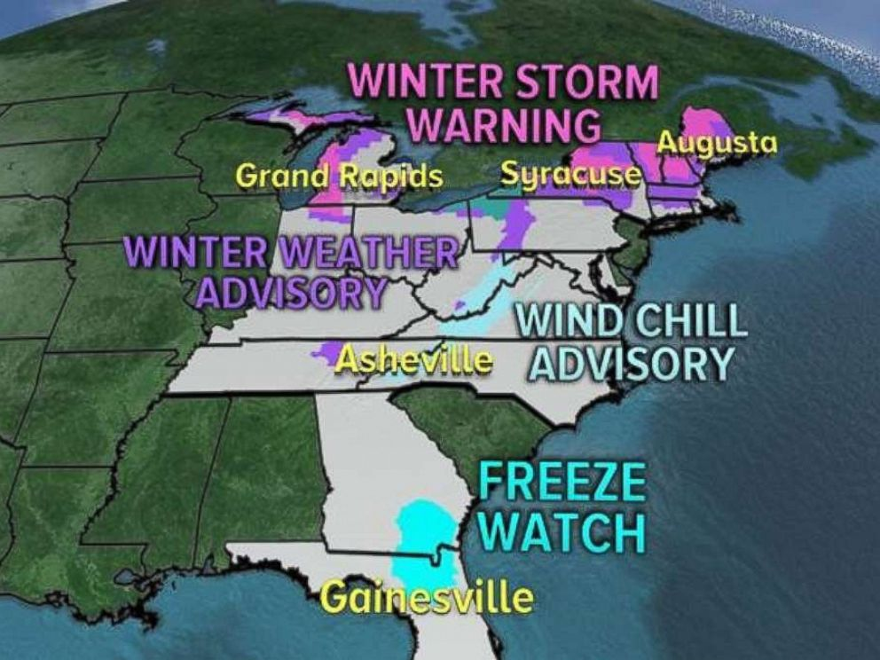 Winter weather advisories and storm warnings are in place across much of the East Coast.