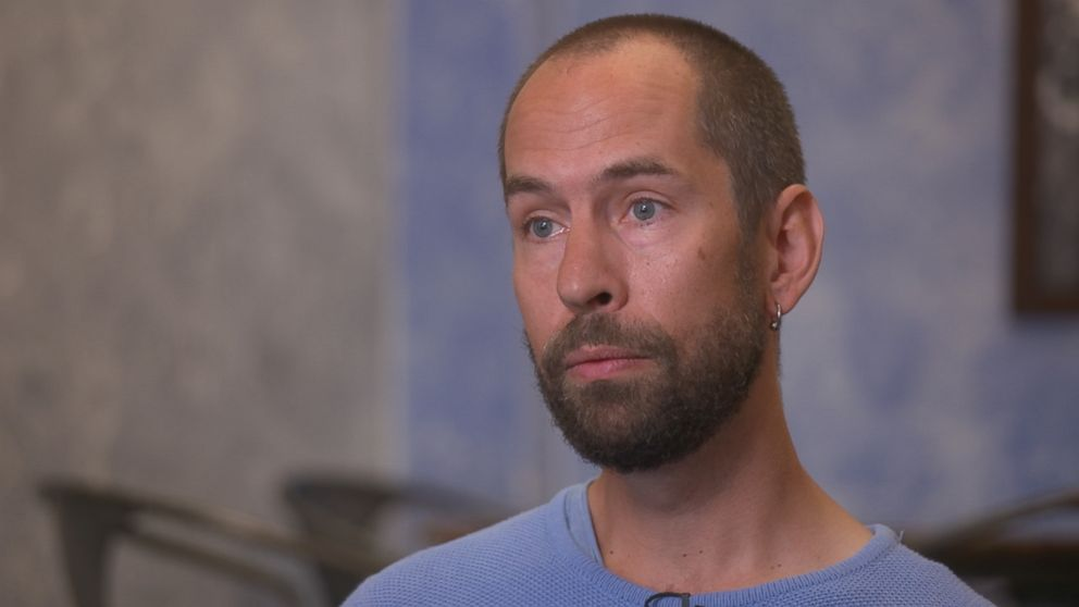 Former Theranos employee Adam Vollmer is seen here during an ABC News interview.