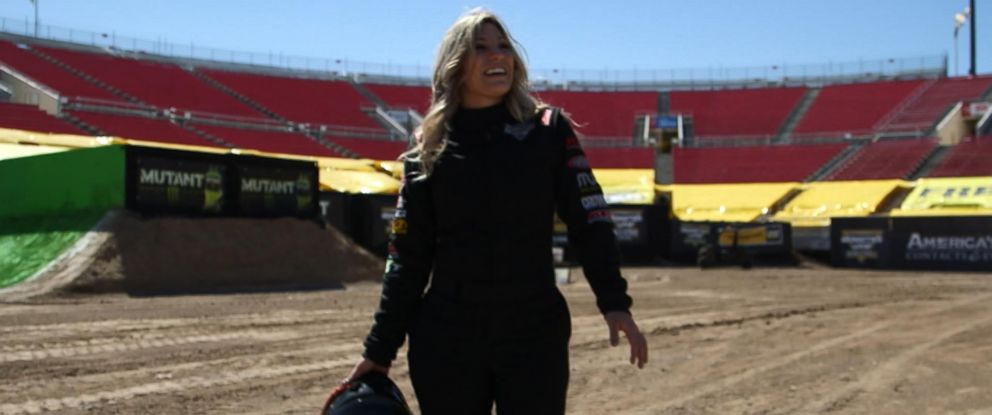 "Cynthia Gauthier is seen here walking the track during a ""Nightline"" interview."