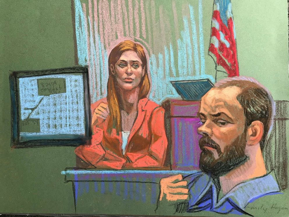 PHOTO: Dr. Emily Hogan is seen here on the stand on June 18, 2019, in this courtroom sketch.