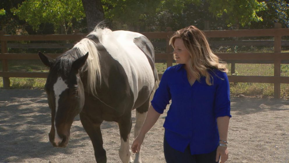 "Jaycee Dugard is shown here with a horse during her interview with ABC News' Diane Sawyer, which airs in a special edition of ""20/20"" on July 8, 2016."