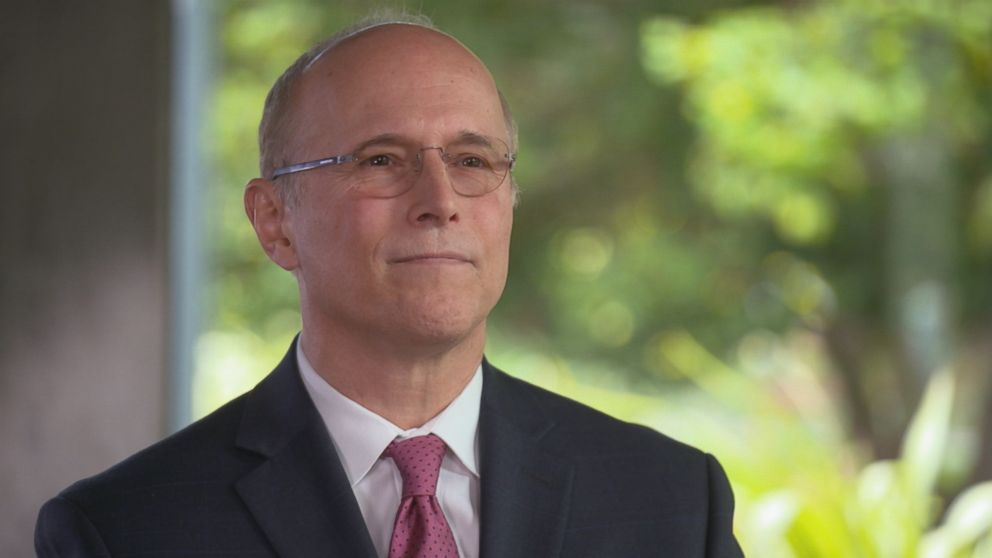 Reed Kathrein, a partner at Hagens Berman who sued Theranos and Holmes on behalf of investors, is seen here during an ABC News interview.