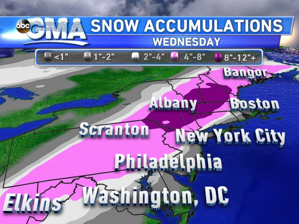 PHOTO: Expected snow accumulations for Nov. 26, 2014.