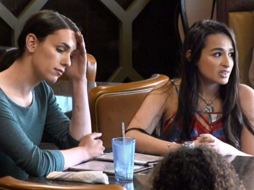 PHOTO: Actress Nadia (left) with special guest Jazz Jennings (right) during a scene for What Would You Do?.