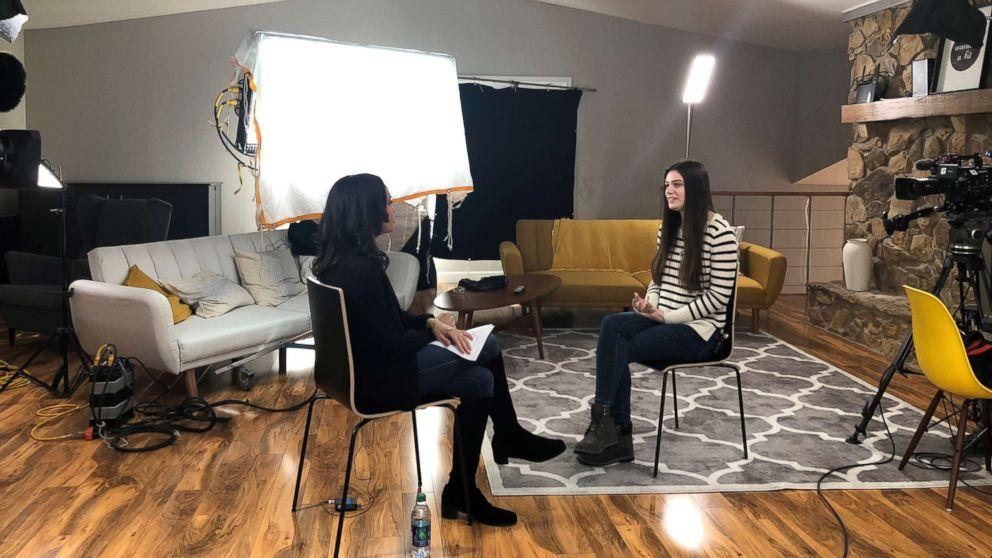 "ABC News' Linsey Davis (left) interviews Purdue University student Abi Finney (right) for ""Nightline."""