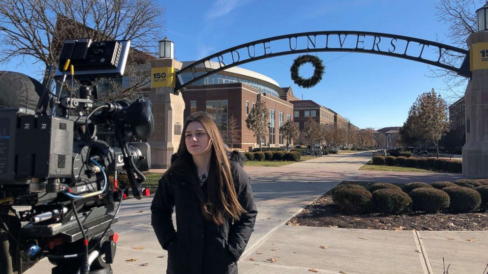 """Purdue University student Abi Finney is seen here during an interview with """"Nightline."""""""