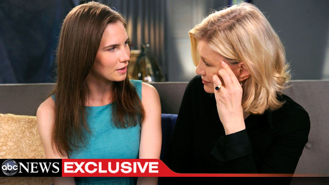 PHOTO: Amanda Knox sits down with ABC News Diane Sawyer for an exclusive interview, April 30, 2013.