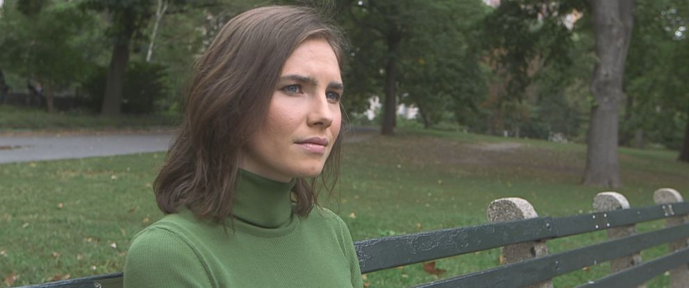"Amanda Knox is seen here during an interview with ABC News ""Nightline."""