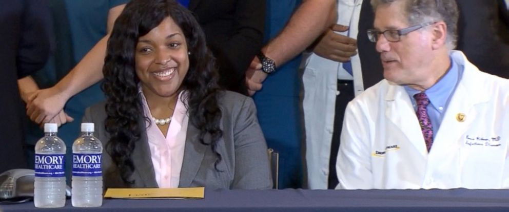 PHOTO: Dallas nurse Amber Vinson speaks at a press conference after recovering from Ebola, Oct. 28, 2014.