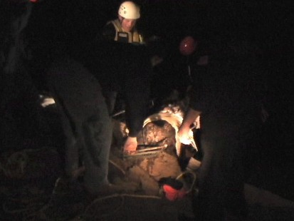 Video: Firefighters pull dog from icy creek.