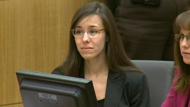 PHOTO: Jodi Arias reacts as the verdict is read in court during her trial at Maricopa County Superior Court in Phoenix.