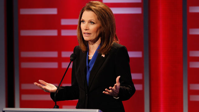 PHOTO: Michele Bachman speaks during the ABC News Republican Presidential debate moderated by Diane Sawyer and George Stephanopoulos live at Drake University in Des Moines, Iowa, December 10, 2011.