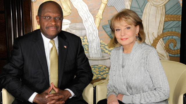 """PHOTO: Barbara Walters interviews Herman Cain for """"Barbara Walters Presents: The 10 Most Fascinating People of the Year,"""""""