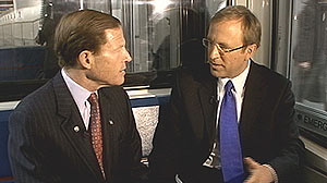 PHOTO: Senator Blumenthal taking a ride on ?ABC?s Subway Series? with Jonathan Karl.
