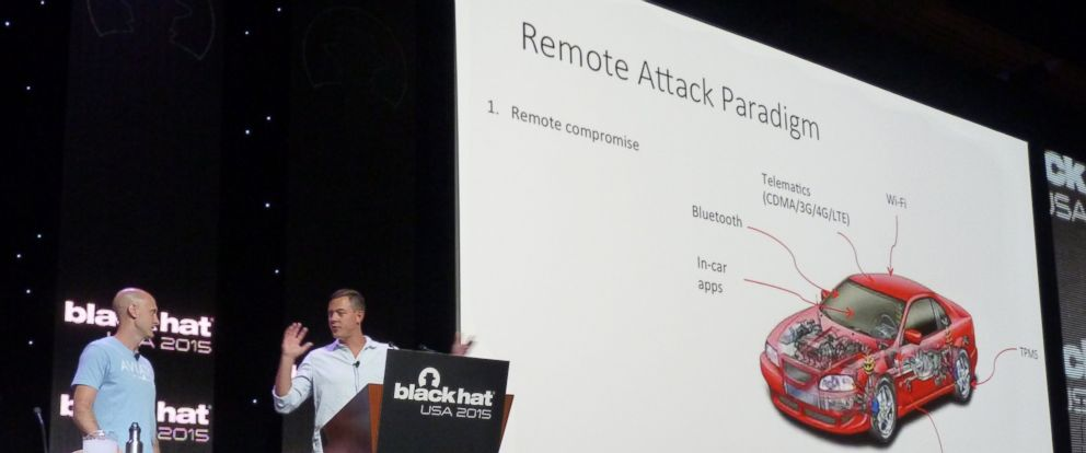 PHOTO: Cyber security researchers Charlie Miller and Chris Valasek present at Black Hat USA 2015 in Las Vegas, Nevada, Aug. 5, 2015.