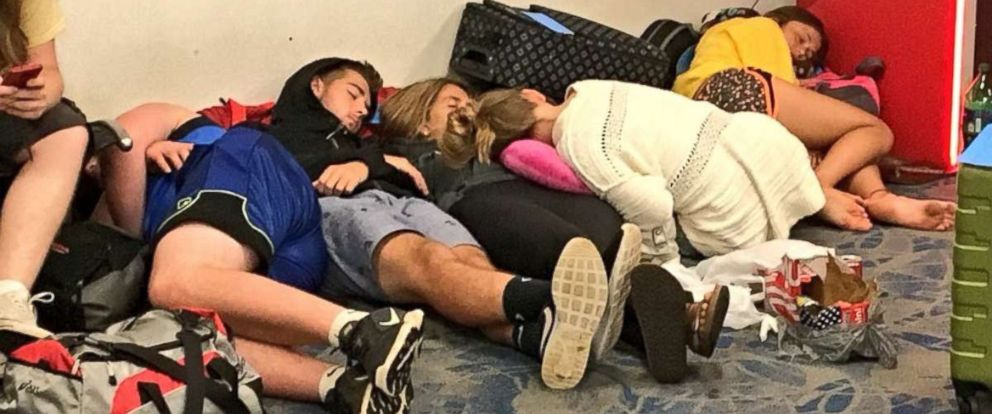 Passengers were stranded at the Charlotte Douglas International Airport in Charlotte, North Carolina, after hundreds of flights were canceled.