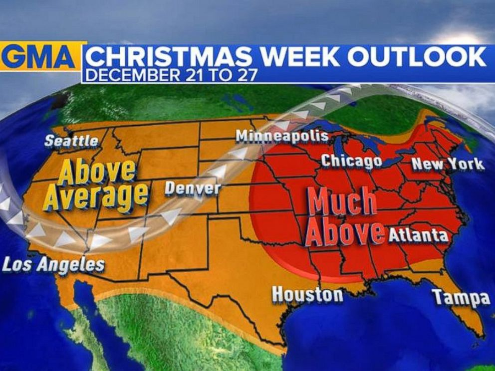 PHOTO: Christmas Outlook: This is the temperature outlook compared to normal for the week of December 21 to December 27