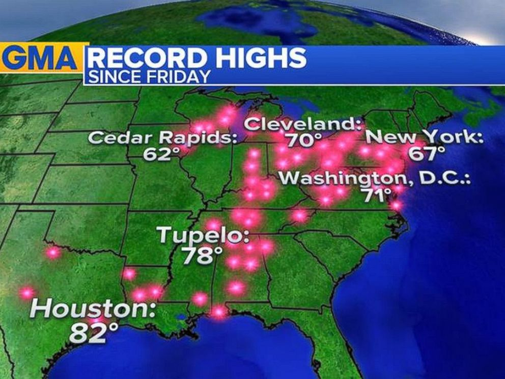 PHOTO: Record Highs: All the record highs that were broken over the weekend