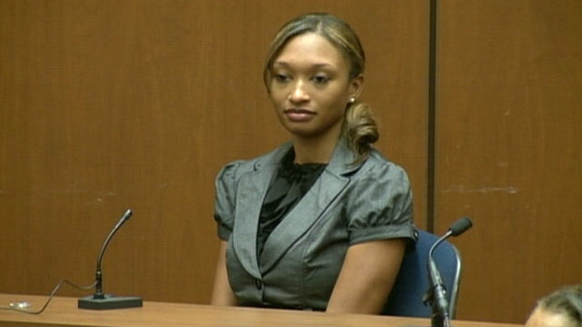 PHOTO:Sade Anding testifies during Dr. Conrad Murray's trial in the death of pop star Michael Jackson in Los Angeles, Oct. 4, 2011.