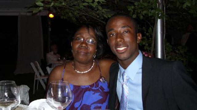 PHOTO: Marie Lourdes Andre and her son George Desdunes, who had been a member of the former Sigma Alpha Epislon chapter at Cornell University. Desdunes died in February from alcohol poisoning.