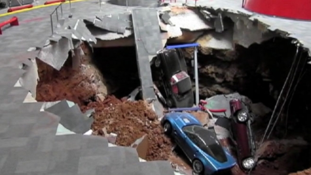 RAW VIDEO: Sinkhole Swallows A Bunch Of Corvettes Video