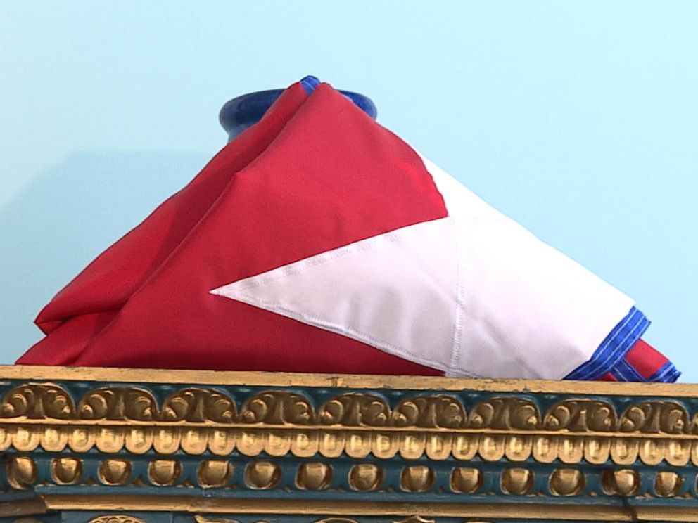 PHOTO: The Cuban interest section already has the flag they will fly once they are declared an embassy.